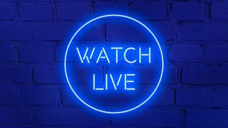 WATCH LIVE in neon style on brick background for your design template.
