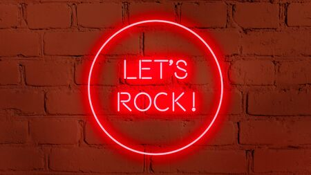 LET'S ROCK in neon style on brick background for your design template. Imagens