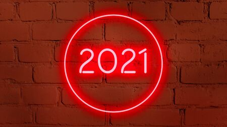 2021 in neon style on brick background for your design template.