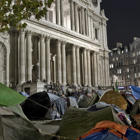 anti capitalist: London, England - November 10 2011 - Occupy London protesters camped in front of St. Pauls Cathedral