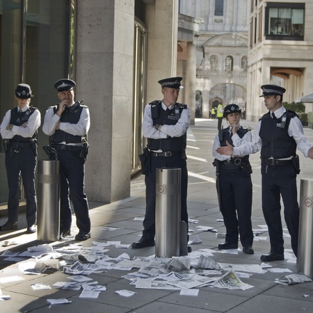 occupy london: London, England - October 15 2011 - Police block a corridor at Occupy London Protests