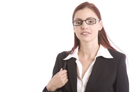 unruffled: Pretty young woman in business attire looking confident