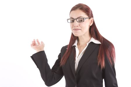 unveil: Beautiful young woman in business attire waving her hand