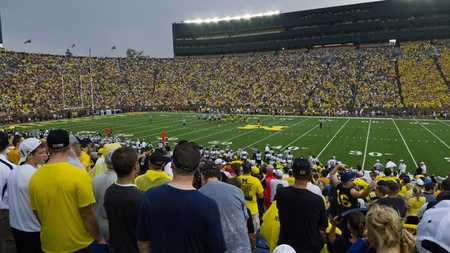 big house: University of Michigan football team faces off against Western Michigan Unversity at its season opener on Saturday, Sept. 3, 2011, in the Big House in Ann Arbor, Michigan. The Wolverines won 34-10 in a game cut short by severe thunderstorms.