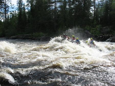 Extreme rafting on the rivers of Karelia Stock fotó - 112035646