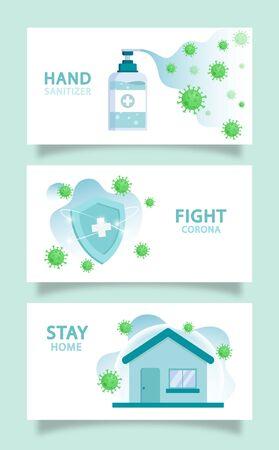 Coronavirus COVID-19 background set hand sanitizer fight corona and stay home Illustration