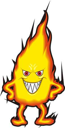 Smiling Fire illustration on white background. Vectores