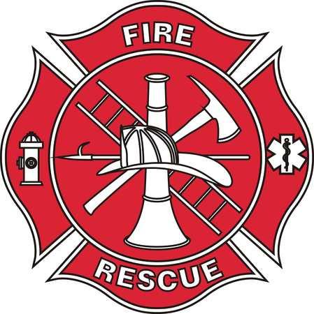 Fire department sign illustration on white background. Stock Illustratie