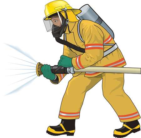 Firefighter extinguishes a fire illustration on white background.