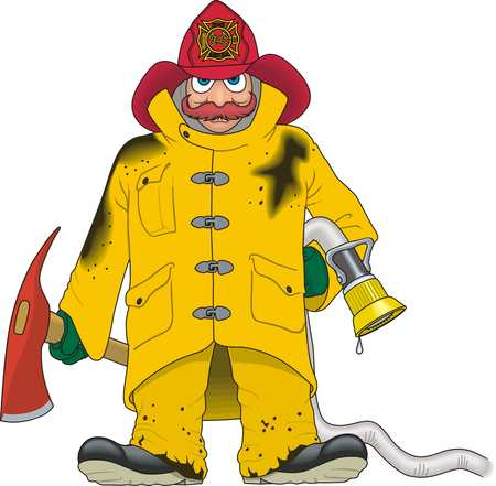 Firefighter with tools illustration on white background.