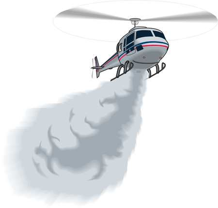 Helicopter extinguishes fire illustration on white background.