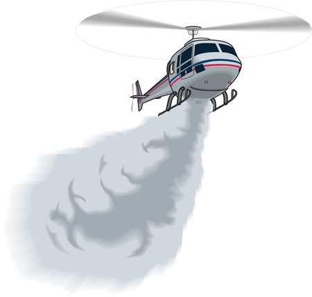 Helicopter extinguishes fire illustration on white background.