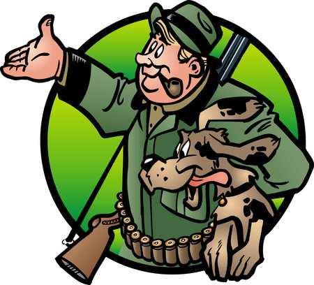 jager met zijn hond op jacht