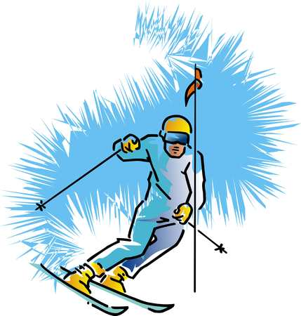 A skier, downhill skiing, competition isolated on ice-like background. Illustration