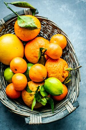 oranges lemons in a basket