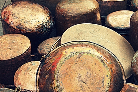 old copper pots and pans Stock Photo - 18137209