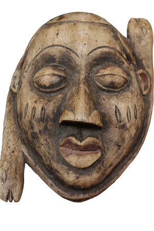 old wooden African mask photo