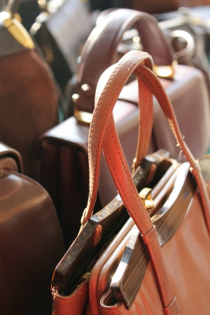 old leather handbags  Stock Photo