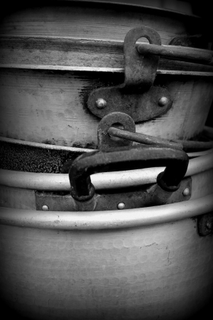 old pots and pans in aluminum  Stock Photo