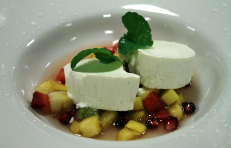 Bavarian almond milk soup with star anise fruit photo