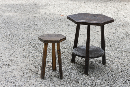 wooden table and stool photo