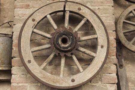 Old wooden wheel photo