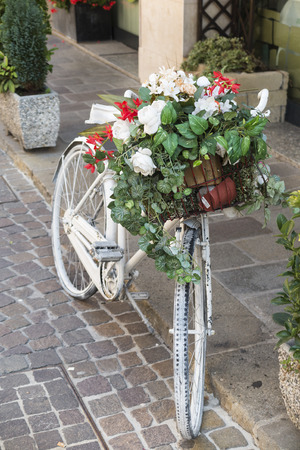 old bicycle with flower photo