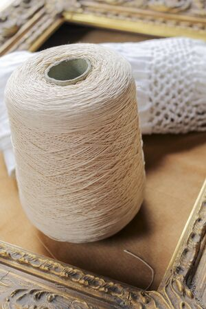 skein: skein of wool and frame Stock Photo