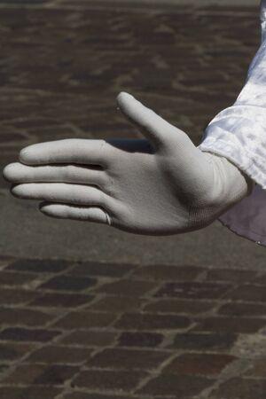 glove puppet: hand artist Stock Photo