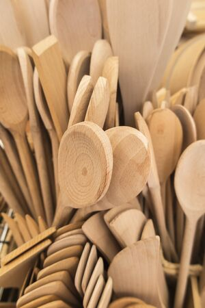ladles: wooden spoons and ladles Stock Photo