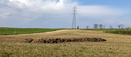 field with electricity pylon