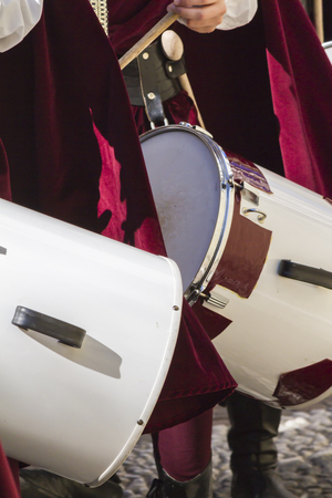 occurrence: medieval musicians with drums and tambourines Stock Photo