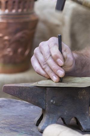 shop skill: hammer and anvil Stock Photo