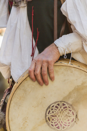 bagpipes: medieval musicians with drums and tambourines Stock Photo