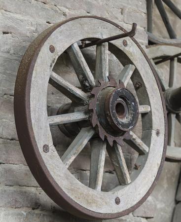 old wood farm wagon: old wooden wheel