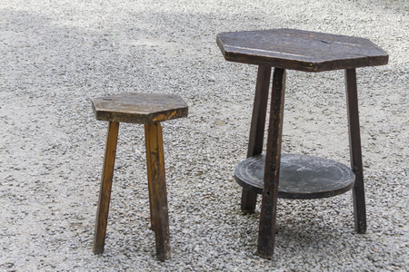 stool: old table and stool Stock Photo