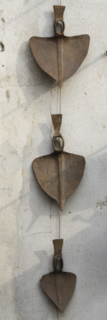 paddles: old paddles on wall Stock Photo