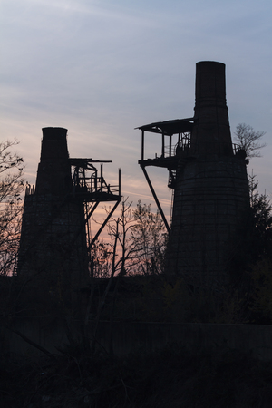 furnace: old furnace at sunset