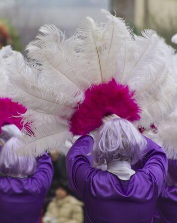 maschere e piume al Carnevale Archivio Fotografico