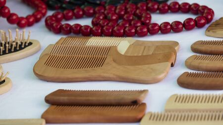 comb: wooden comb and necklace
