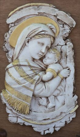 old frame with Madonna