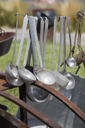 pans: old pots and pans Stock Photo