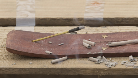 wood burner: incense burned Stock Photo
