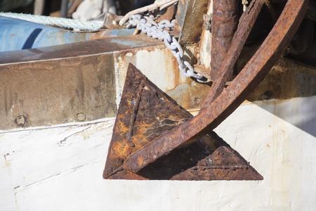 ship anchor: rusty anchor on ship Stock Photo