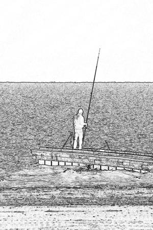 panoramic beach: fisherman at sea Stock Photo