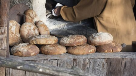 baked: bread baked Stock Photo