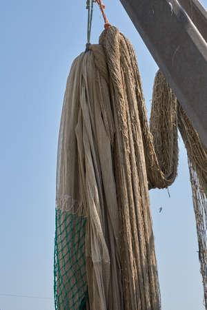 Industrial fishing nets on boat