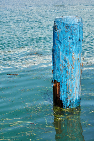 wooden mooring at the harbor on lake