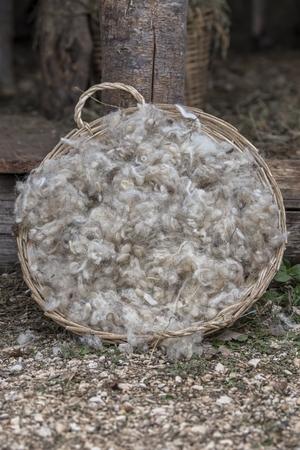 wool in basket Reklamní fotografie