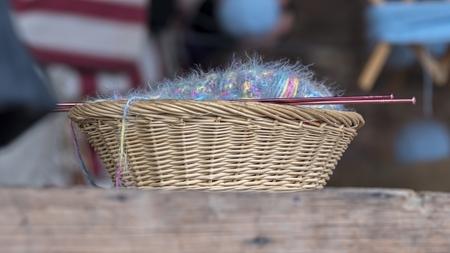 wool in basket 写真素材